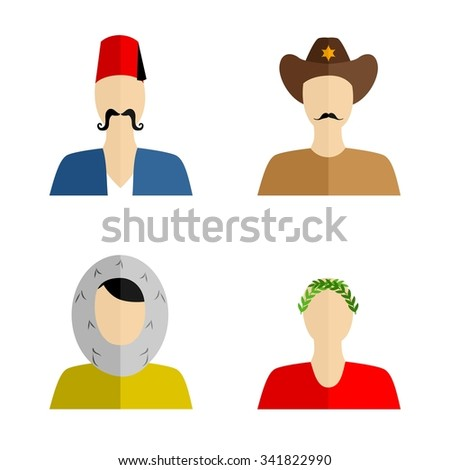 set of silhouettes of people of different nationalities in their national costumes. - stock vector