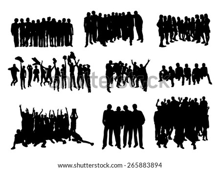 set of silhouettes of rejoicing, hugging and jumping people on white background vector - stock vector