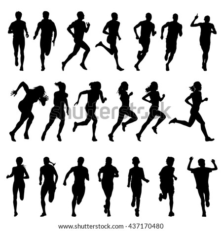 Set of silhouettes of running men and women. Run, runner, sport