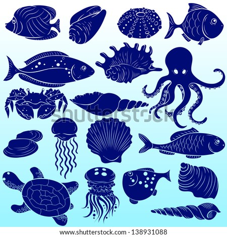 Set of silhouettes of sea fish and shells - stock vector