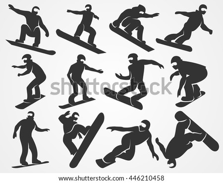 Set of silhouettes of snowboarders isolated on a light gray background