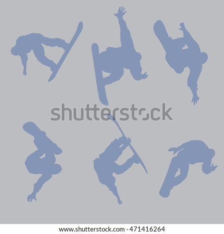 Set of silhouettes of snowboarders. Men and women ride and jump doing tricks. Inspirational vector illustration.