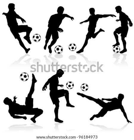 Set of Silhouettes of Soccer Players in various Poses with the Ball - stock vector