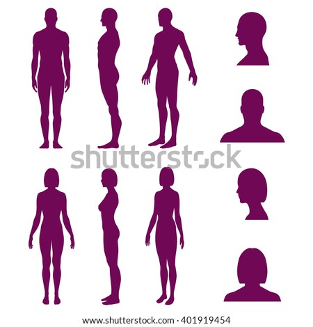Set of silhouettes of standing naked man and woman and avatars in front and side view. Vector illustration isolated on white background - stock vector
