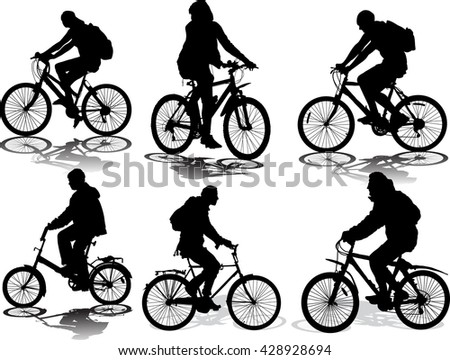 Set of 6 silhouettes of the cyclist