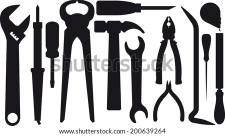 Set of silhouettes of tools - stock vector