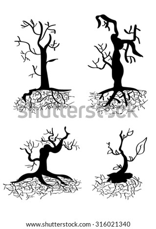 Set of silhouettes of trees on white isolated vector background can create many tree leave branch and make brush  - stock vector