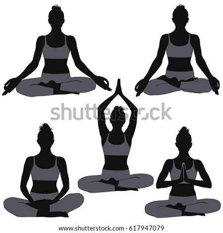 Set Of Silhouettes Woman In Yoga Poses For Meditation And Concentration Shapes Girl
