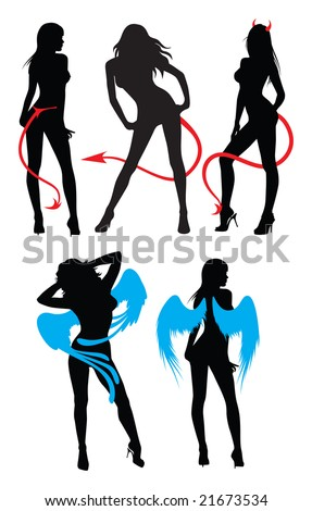 Set of silhouettes of women, dressed like devils and angels.