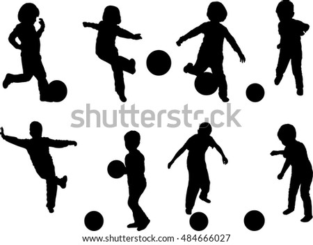 Set of silhouettes of young boys playing with ball