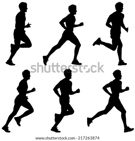 Set of silhouettes. Runners on sprint, men. vector illustration. - stock vector