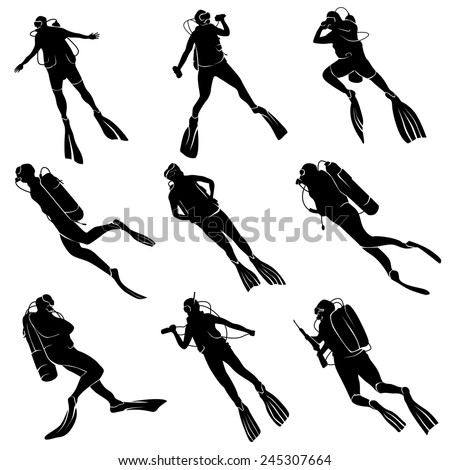 Set of silhouettes scuba diving in different poses. - stock vector