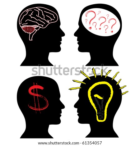 Set of silhouettes with a brain, question, idea and the dollar - stock vector