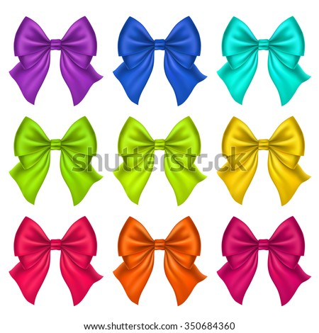 Set of Silk Bow. Vector Illustration. Colorful bows for Gift Design, Invitation Decorative Cards, Voucher Design, Holiday Invitation Design. - stock vector