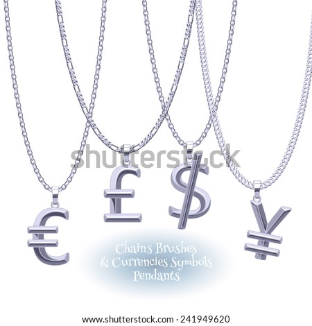 Set of silver chains with currencies symbols pendants. Precious necklaces. Dollar, pound, yen and euro jewelry design. Finance business icons. - stock vector