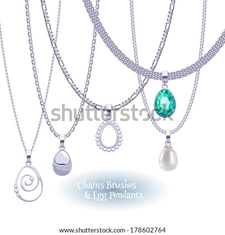Set of silver chains with egg form pendants. Precious necklaces. Include chains brushes. - stock vector