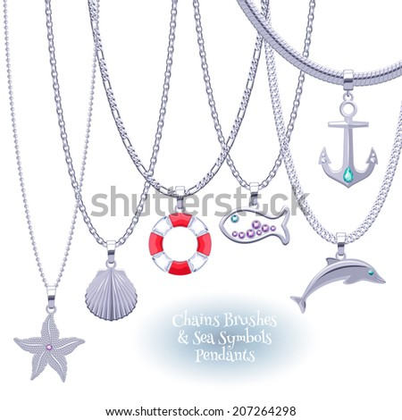 Set of silver chains with nautical symbols pendants. Precious sea life necklaces. Include chains brushes. - stock vector