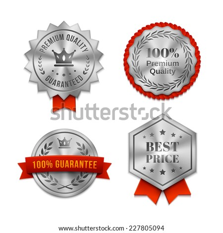 Set of silver metallic Quality badges or labels in various shapes with red ribbons and text guaranteeing the quality of the product or service  vector illustration on white - stock vector