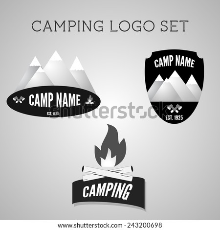 Set of silver outdoor adventure badges and campsite logo emblems. Summer 2015 banner. Vector - stock vector