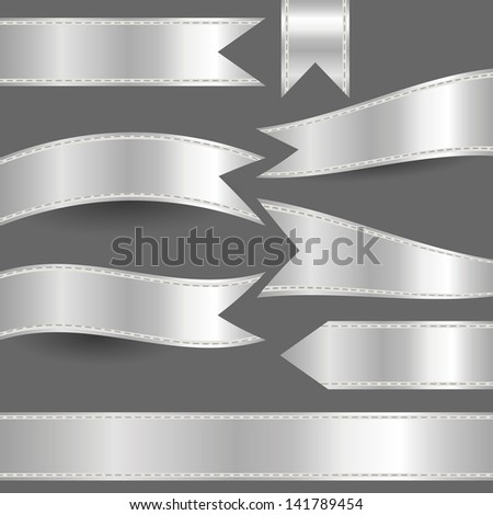 set of silver ribbons - stock vector