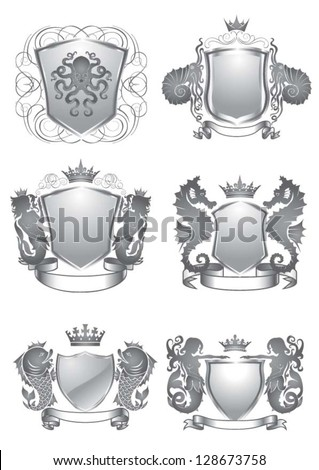 Set of silver shield silhouette on sea heraldry element - stock vector