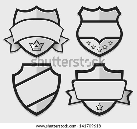 Set of silver vector retro badges. Eps 10. Vector illustration - stock vector