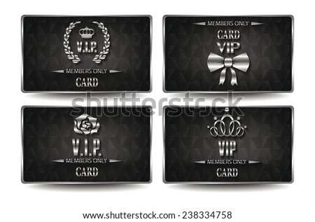 Set of silver VIP cards with geometric texture - stock vector