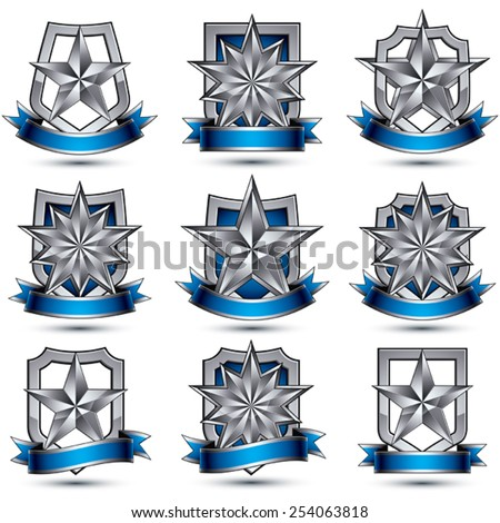 Set of silvery heraldic 3d glossy icons, best for use in web and graphic design, pentagonal silver stars, clear EPS 8 vector luxury symbols. - stock vector