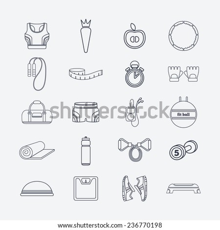 Set of simple black fitness thin line icons for girls. Vector illustration of sport symbols in flat style on the white background - stock vector