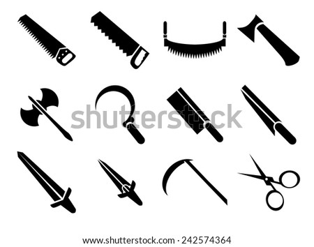 Set of simple black symbol icons. Cutting and sharps for design and decoration sites, infographic and other works.  - stock vector