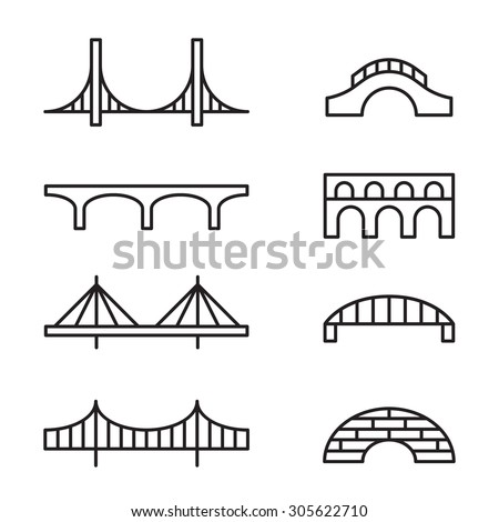 Set of simple bridge line icons.