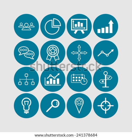 Set of simple business icons - stock vector