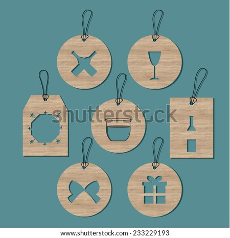 Set of simple cards, labels for new year greetings with wooden texture.