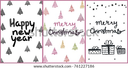 Set simple christmas greeting cards handdrawn stock vector 761227186 set of simple christmas greeting cards with handdrawn design elements and lettering m4hsunfo