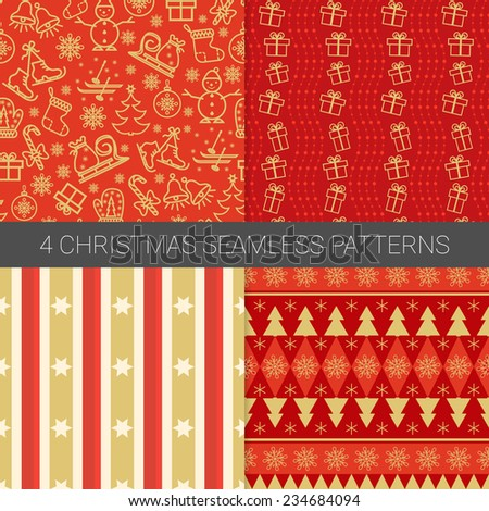 Set of simple Christmas patterns with christmas tree, skis, skates, star, snowflakes,bells, socks, christmas candies gift box, bow, ball, snowman in red. Good for textile, gift cards, wrapping paper. - stock vector