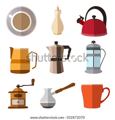 Set of simple coffee flat icons with long shadows on white background vector illustration