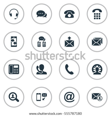 Set Of 16 Simple Connect Icons. Can Be Found Such Elements As Monitor, Posting, Correspondence And Other.