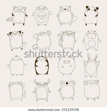 set of simple cute cartoon animals, hand drawn vector illustration - stock vector