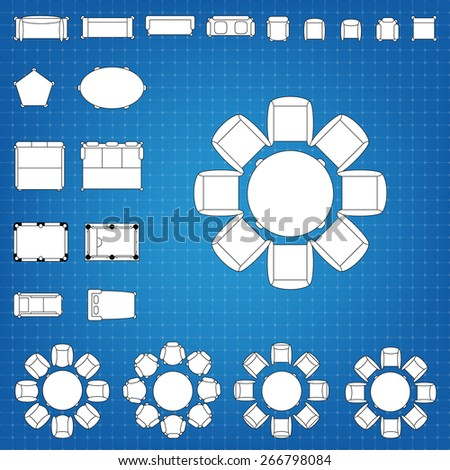 Set of simple 2d flat vector icons furniture for floor plan outline on blueprint technical grid background. Tables and chairs editable EPS10 vector illustration for interior outline design - stock vector