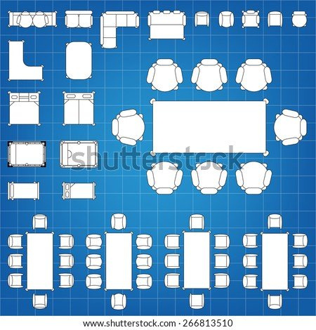 Set simple 2d flat vector icons stock vector 266813510 shutterstock set of simple 2d flat vector icons furniture for floor plan outline on blueprint technical grid malvernweather Choice Image