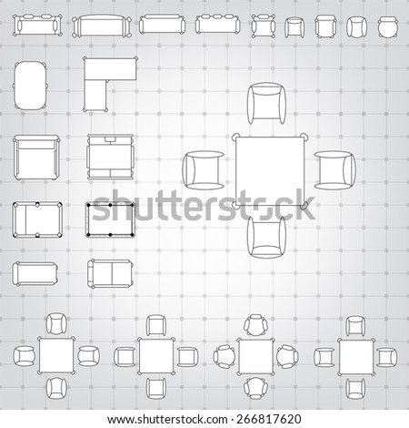 Set simple 2d flat vector icons stock vector 379972558 shutterstock set of simple 2d flat vector icons furniture for floor plan outline on blueprint technical grid malvernweather Choice Image