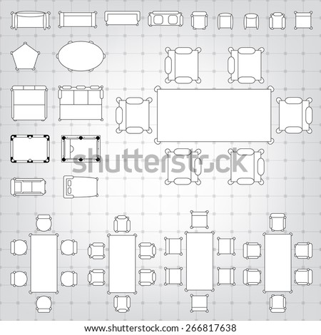 Outline vector simple furniture plan floor stock vector for Blueprint plan table