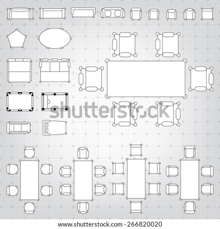 Set simple 2 d flat vector icons stock vector 2018 266820020 set of simple 2d flat vector icons furniture for floor plan outline on blueprint technical grid malvernweather Gallery