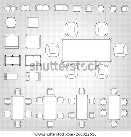 furniture for floor plans. set of simple 2d flat vector icons furniture for floor plan outline on blueprint technical grid plans