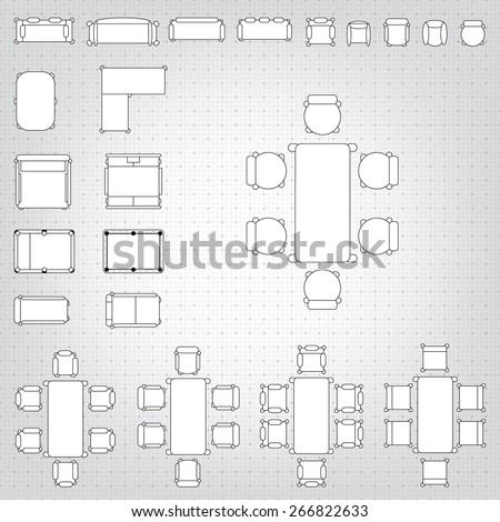 Blueprint Interior Design Set set simple 2d flat vector icons stock vector 266822633  shutterstock