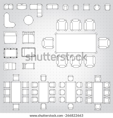 Set simple 2d flat vector icons stock vector 266822663 shutterstock set of simple 2d flat vector icons furniture for floor plan outline on blueprint technical grid malvernweather Choice Image