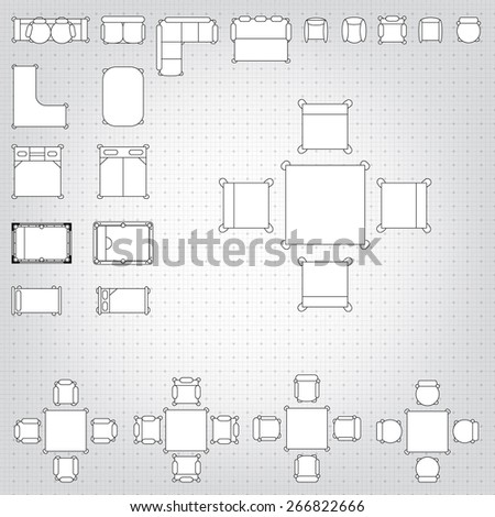 Set simple 2d flat vector icons stock vector 266822666 shutterstock set of simple 2d flat vector icons furniture for floor plan outline on blueprint technical grid malvernweather Choice Image