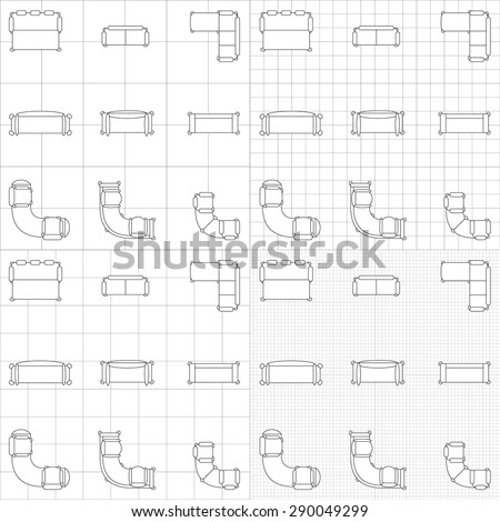 Set simple 2d flat vector icons stock photo photo vector set of simple 2d flat vector icons furniture for floor plan outline on blueprint technical grid malvernweather Choice Image
