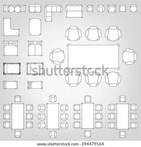 Blueprint Interior Design Set set simple 2d flat vector icons stock vector 294479588  shutterstock