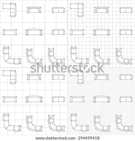 Interior designer brand identity furniture design stock vector set of simple 2d flat vector icons furniture for floor plan outline on blueprint technical grid malvernweather Image collections